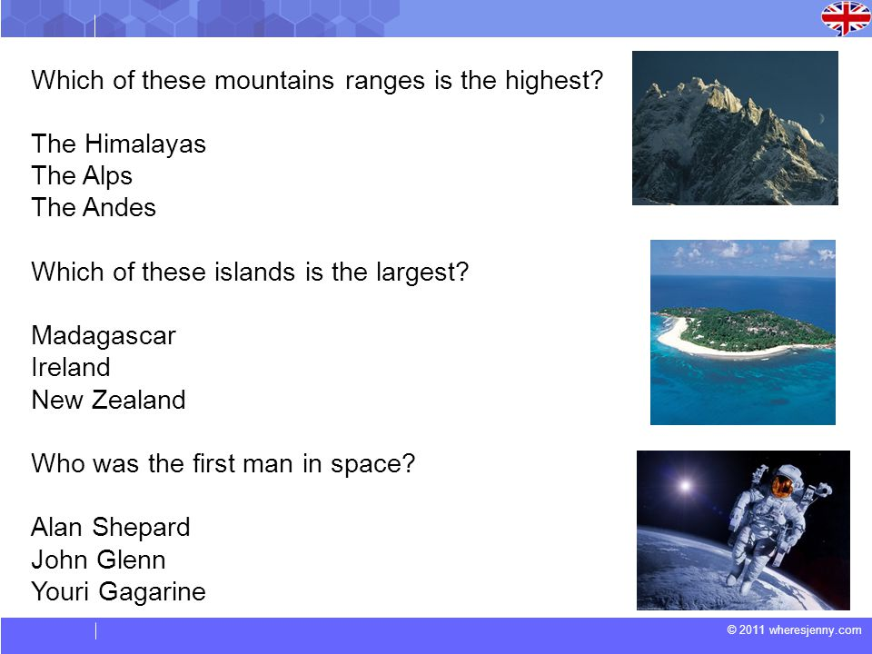 © 2011 wheresjenny.com Which of these mountains ranges is the highest.