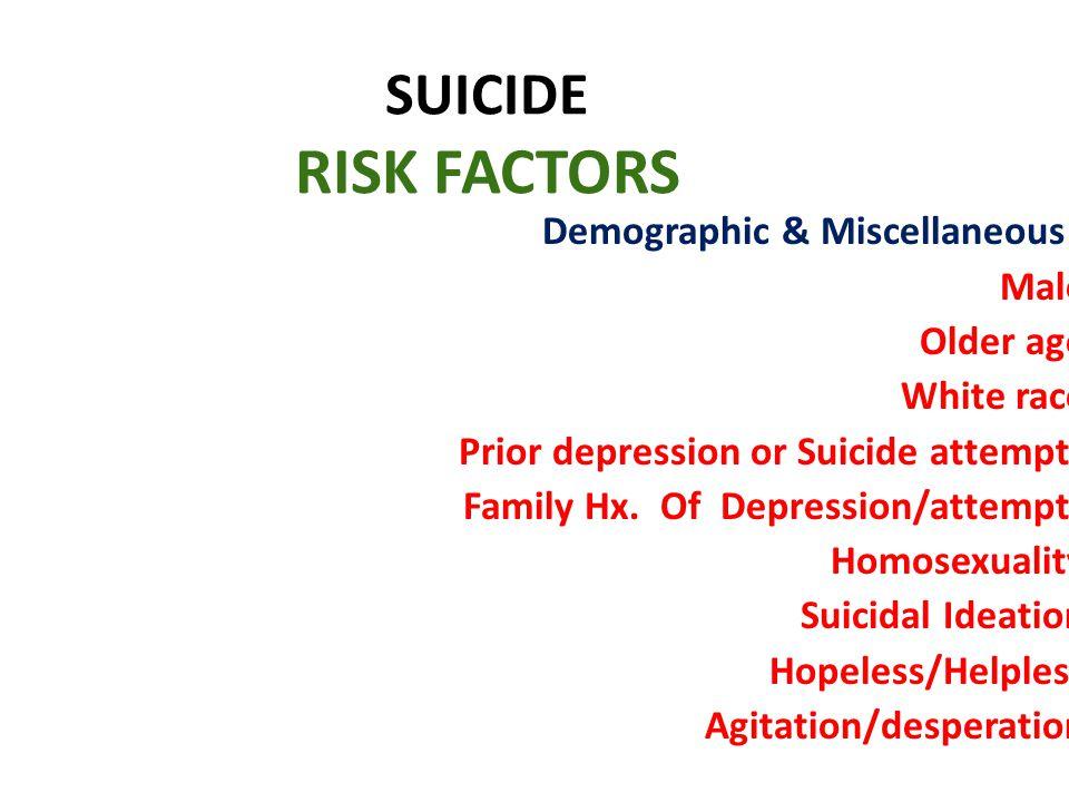 SUICIDE RISK FACTORS Demographic & Miscellaneous : Male Older age White race Prior depression or Suicide attempts Family Hx. Of Depression/attempts Ho
