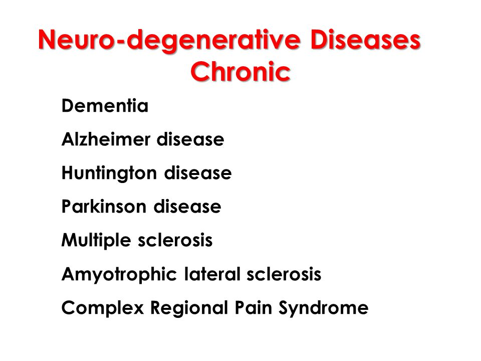Neuro-degenerative Diseases Chronic Dementia Alzheimer disease Huntington disease Parkinson disease Multiple sclerosis Amyotrophic lateral sclerosis Complex Regional Pain Syndrome