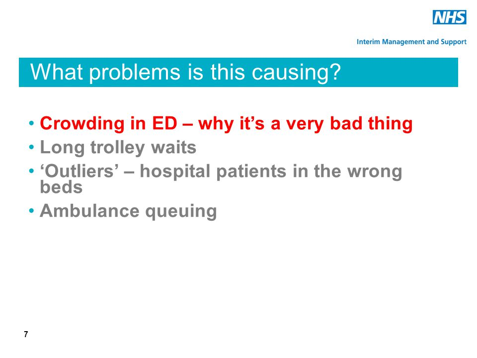What problems is this causing? Crowding in ED – why it's a very bad thing Long trolley waits 'Outliers' – hospital patients in the wrong beds Ambulanc