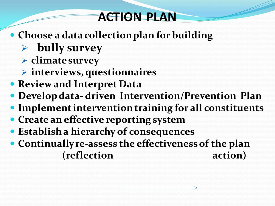 Choose a data collection plan for building  bully survey  climate survey  interviews, questionnaires Review and Interpret Data Develop data- driven