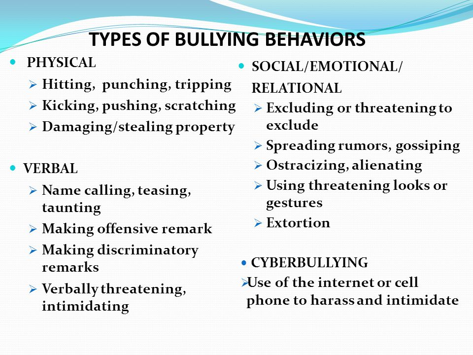 TYPES OF BULLYING BEHAVIORS PHYSICAL  Hitting, punching, tripping  Kicking, pushing, scratching  Damaging/stealing property VERBAL  Name calling,