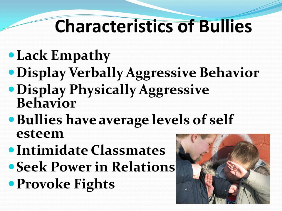 Long Term Effects on the Bully Nearly 60 percent of boys who researchers classified as bullies in grades six through nine were convicted of at least one crime by the age of 24.