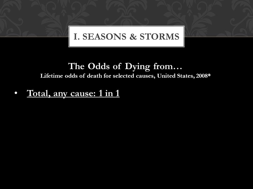The Odds of Dying from… Lifetime odds of death for selected causes, United States, 2008* Total, any cause: 1 in 1 Total, any cause: 1 in 1 I.