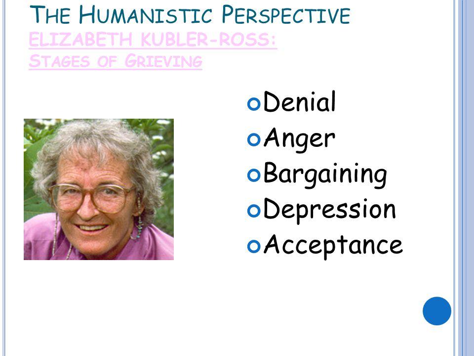 T HE H UMANISTIC P ERSPECTIVE ELIZABETH KUBLER-ROSS: S TAGES OF G RIEVING Denial Anger Bargaining Depression Acceptance