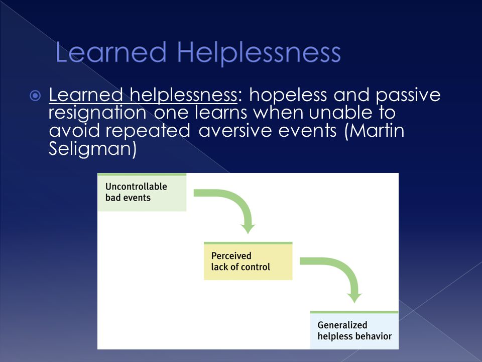  Learned helplessness: hopeless and passive resignation one learns when unable to avoid repeated aversive events (Martin Seligman)