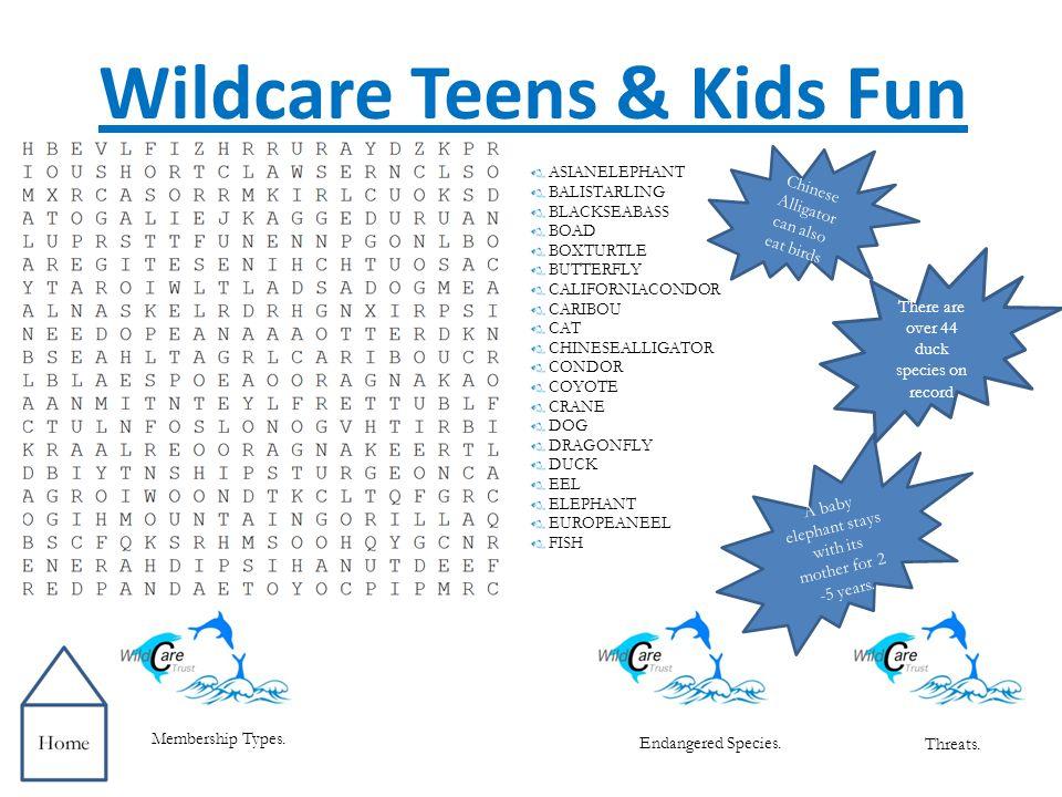 Endangered Species Membership Types. Threats. Wildcare Teens & Kids Fun.