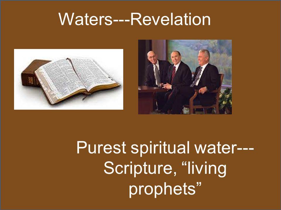 Waters---Revelation Purest spiritual water--- Scripture, living prophets