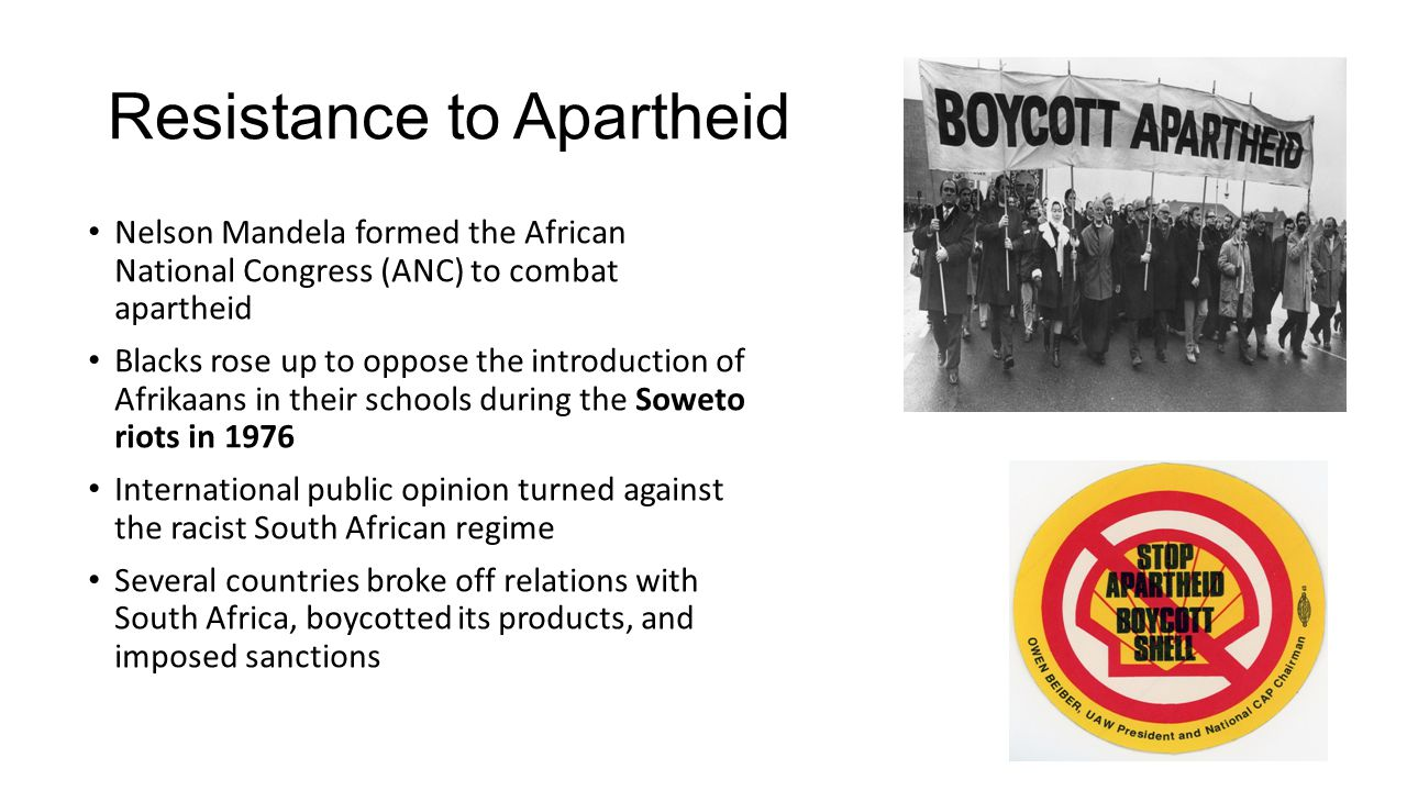 Resistance to Apartheid Nelson Mandela formed the African National Congress (ANC) to combat apartheid Blacks rose up to oppose the introduction of Afr