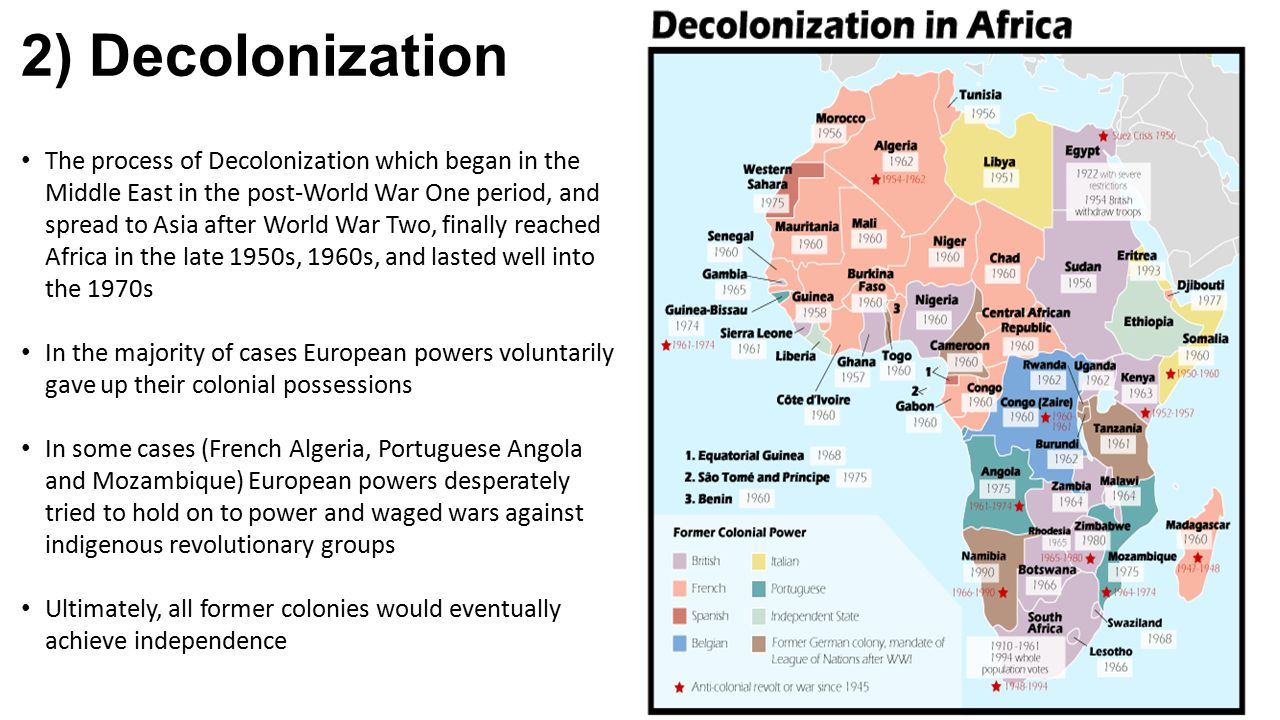 2) Decolonization The process of Decolonization which began in the Middle East in the post-World War One period, and spread to Asia after World War Tw