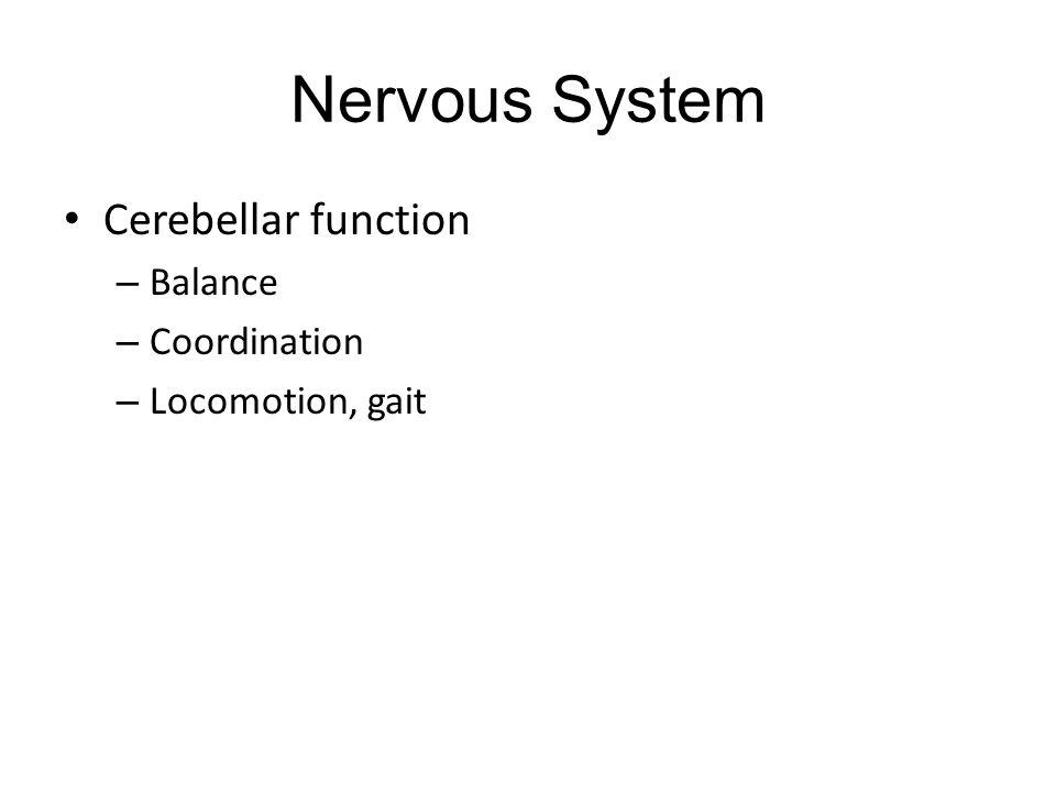 Nervous System Cerebellar function – Balance – Coordination – Locomotion, gait