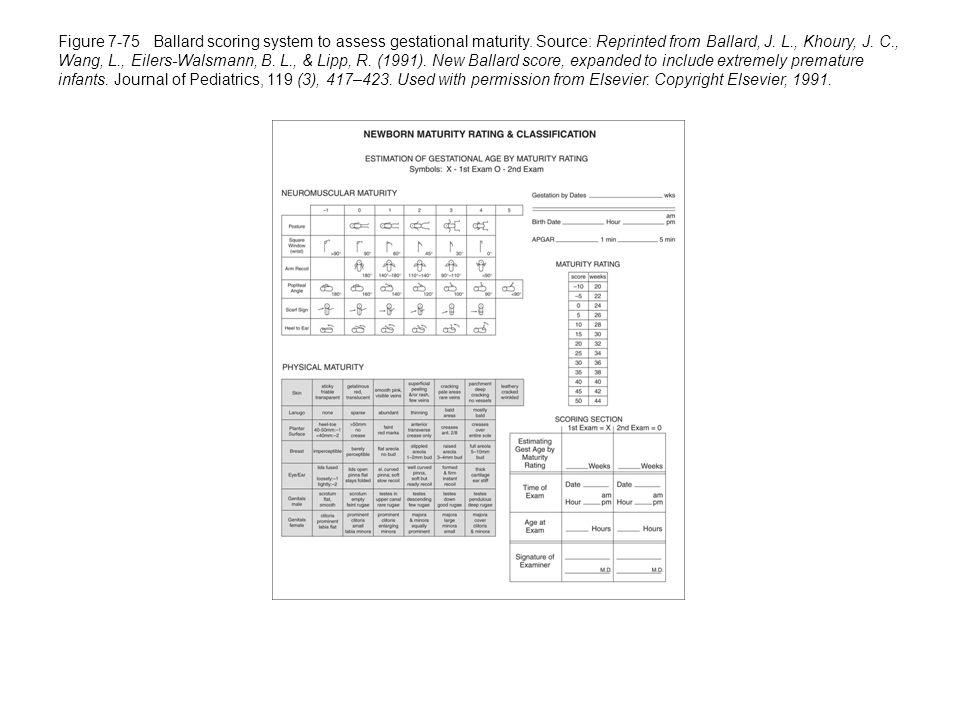 Figure 7-75 Ballard scoring system to assess gestational maturity.