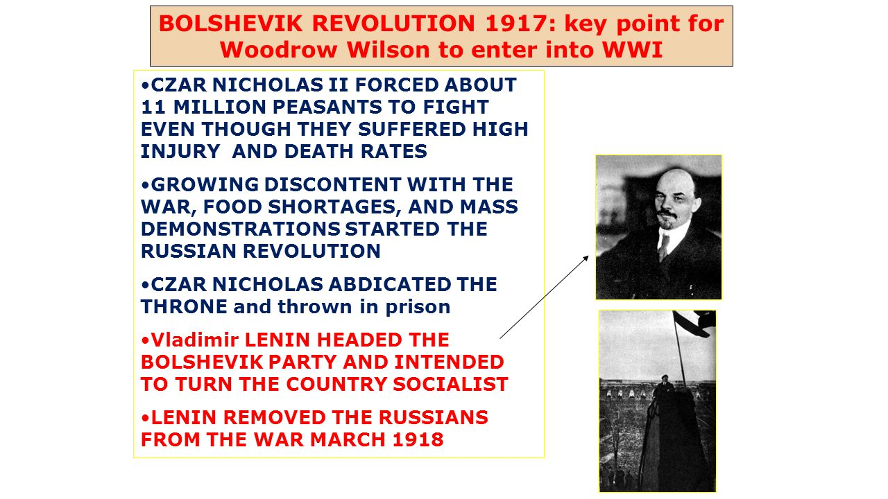 BOLSHEVIK REVOLUTION 1917: key point for Woodrow Wilson to enter into WWI CZAR NICHOLAS II FORCED ABOUT 11 MILLION PEASANTS TO FIGHT EVEN THOUGH THEY SUFFERED HIGH INJURY AND DEATH RATES GROWING DISCONTENT WITH THE WAR, FOOD SHORTAGES, AND MASS DEMONSTRATIONS STARTED THE RUSSIAN REVOLUTION CZAR NICHOLAS ABDICATED THE THRONE and thrown in prison Vladimir LENIN HEADED THE BOLSHEVIK PARTY AND INTENDED TO TURN THE COUNTRY SOCIALIST LENIN REMOVED THE RUSSIANS FROM THE WAR MARCH 1918