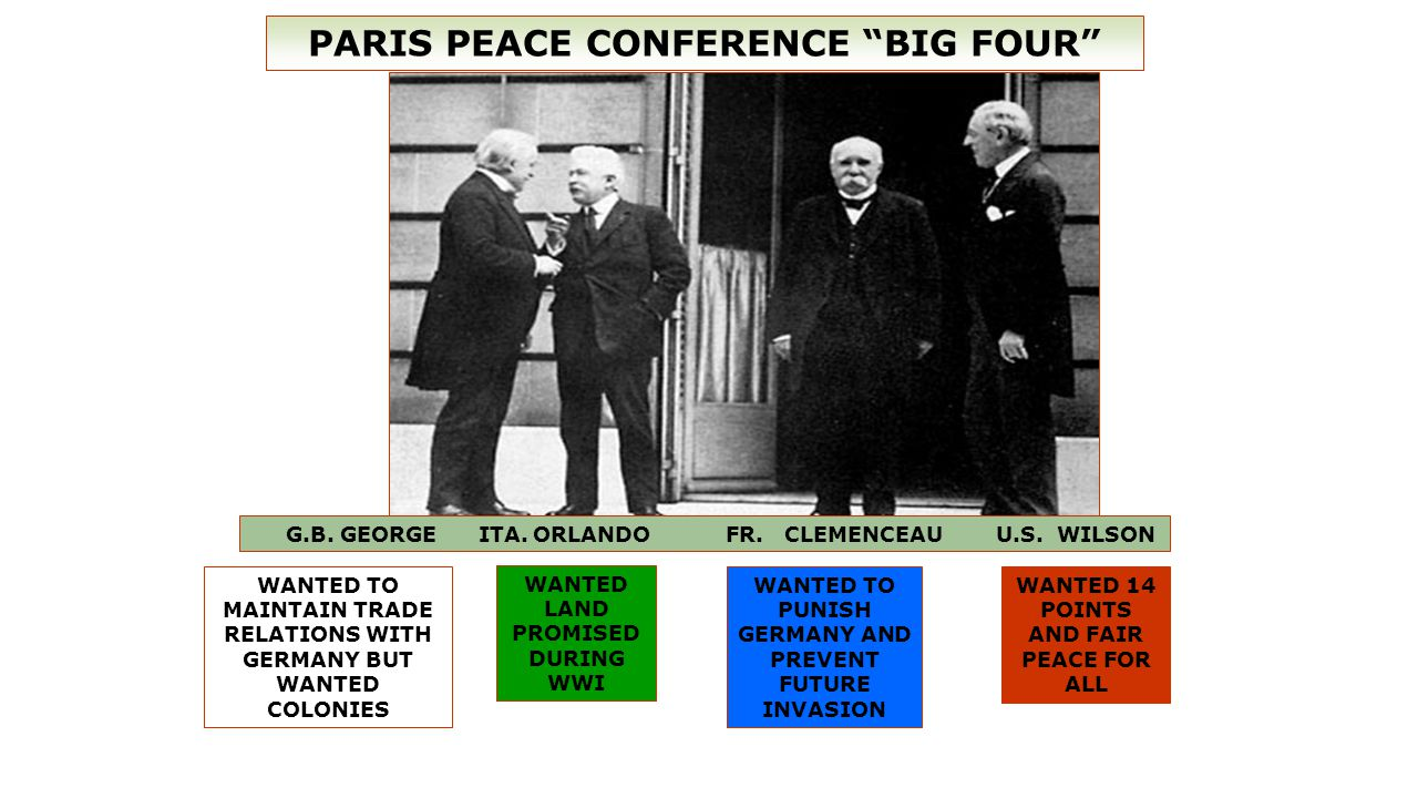 PARIS PEACE CONFERENCE BIG FOUR G.B. GEORGE ITA.