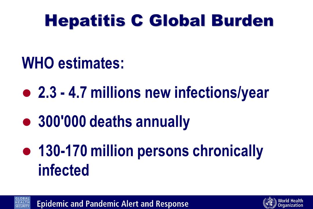 Hepatitis C Global Burden WHO estimates: l 2.3 - 4.7 millions new infections/year l 300 000 deaths annually l 130-170 million persons chronically infected