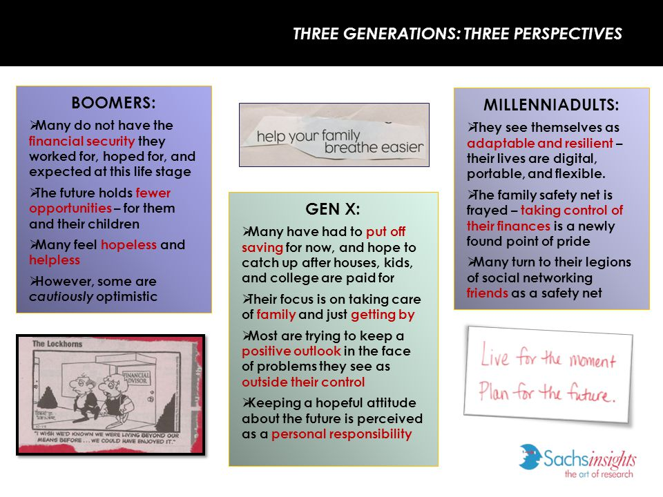 COMMON THEMES ACROSS GENERATIONS Across generations, they are redefining NEEDS vs.
