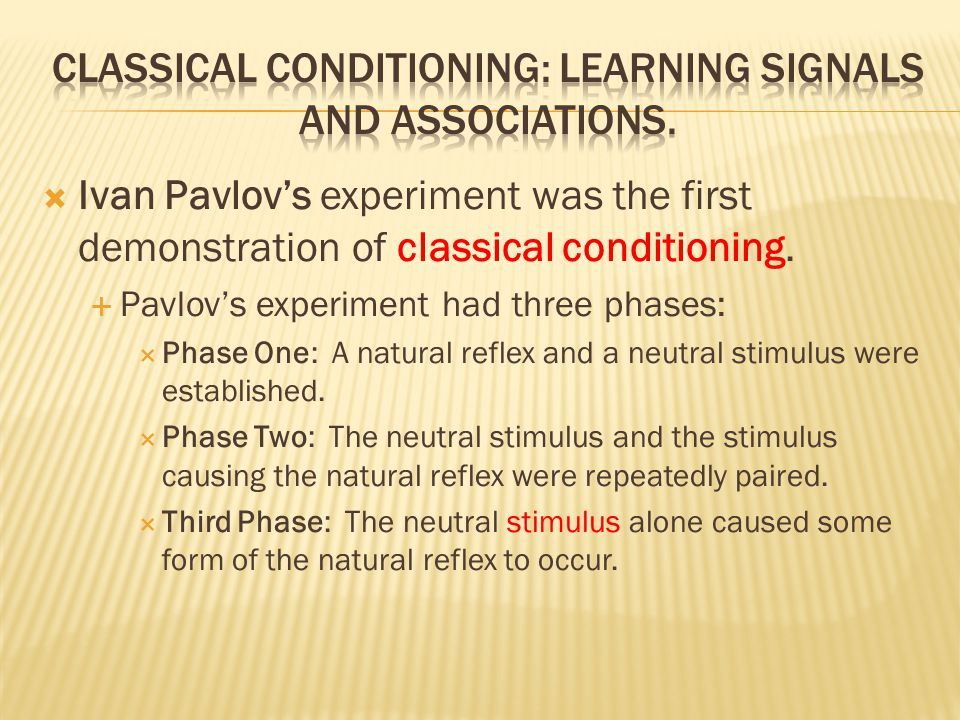  Ivan Pavlov's experiment was the first demonstration of classical conditioning.  Pavlov's experiment had three phases:  Phase One: A natural refle