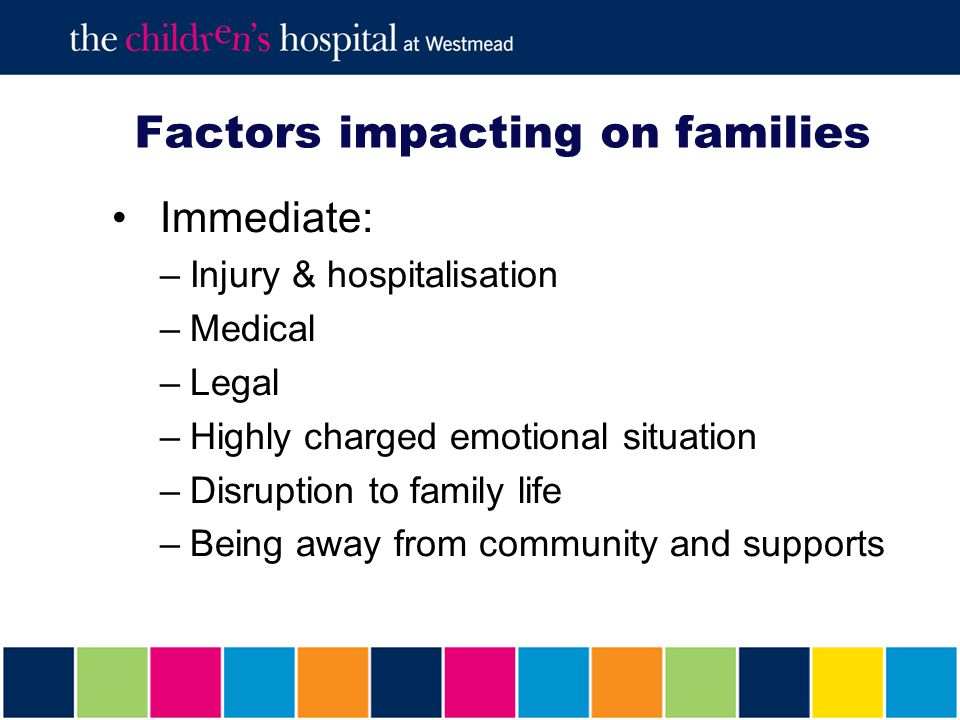 Factors impacting on families Emerging picture of long term consequences Process of change and adaptation for the family