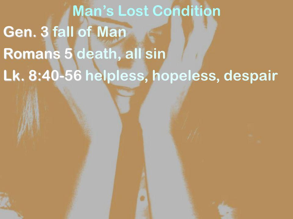 Man's Lost Condition Gen. 3 Gen. 3 fall of Man Romans 5 Romans 5 death, all sin Lk.