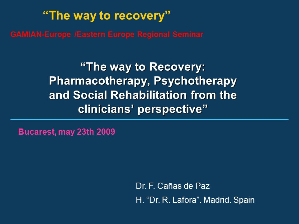"""The way to recovery"" GAMIAN-Europe /Eastern Europe Regional Seminar ""The way to Recovery: Pharmacotherapy, Psychotherapy and Social Rehabilitation fr"