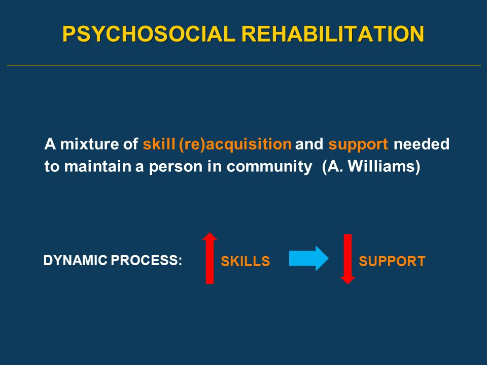 PSYCHOSOCIAL REHABILITATION A mixture of skill (re)acquisition and support needed to maintain a person in community (A. Williams) DYNAMIC PROCESS: SKI