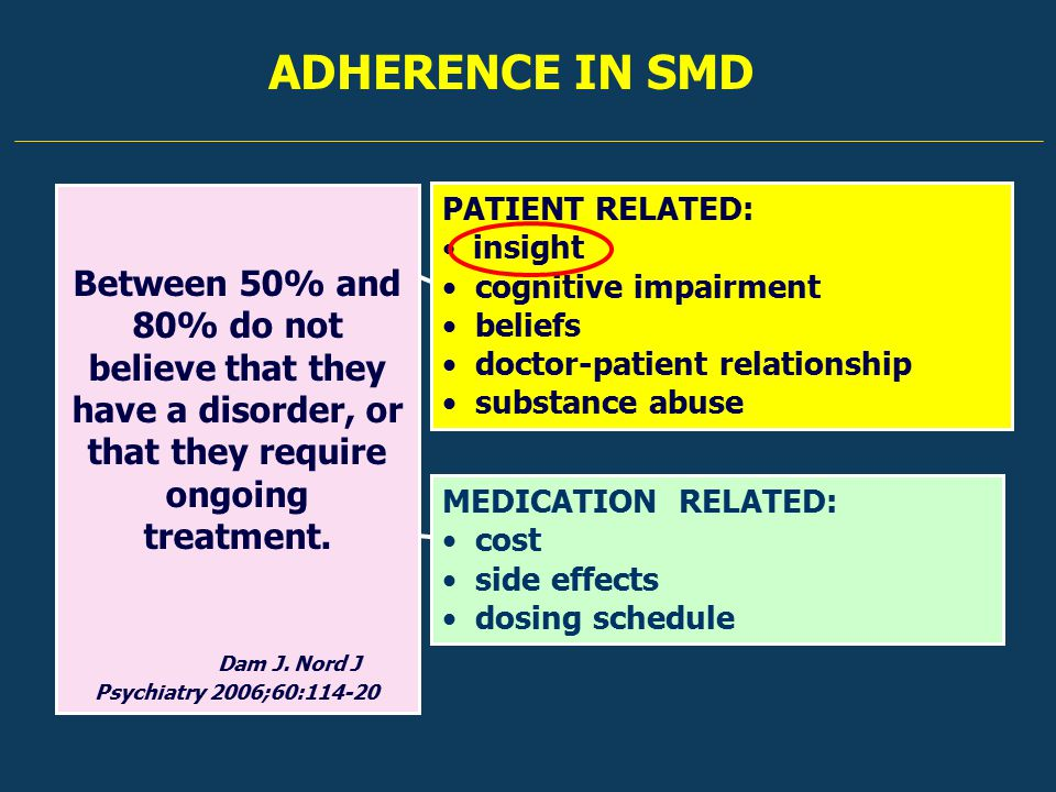 ADHERENCE IN SMD PATIENT RELATED: insight cognitive impairment beliefs doctor-patient relationship substance abuse MEDICATION RELATED: cost side effects dosing schedule Between 50% and 80% do not believe that they have a disorder, or that they require ongoing treatment.