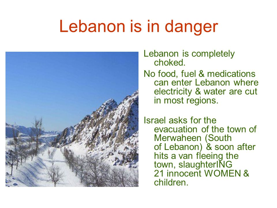 Lebanon is in danger 3- Israel says it wants to finish up with the Hezbollah : Were the 20 innocent passengers & children killed in the van members of the Hezbollah .