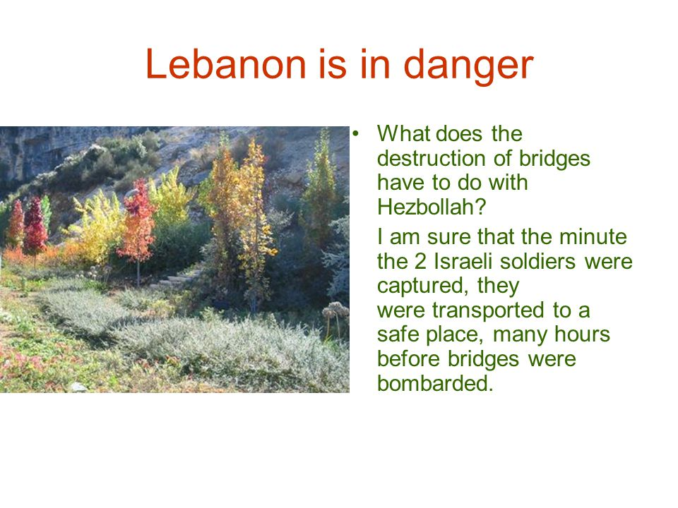 Lebanon is in danger Lebanon is a helpless country militarily; it has no fighter jets, no war ships and only 3 or 4 old military helicopters.