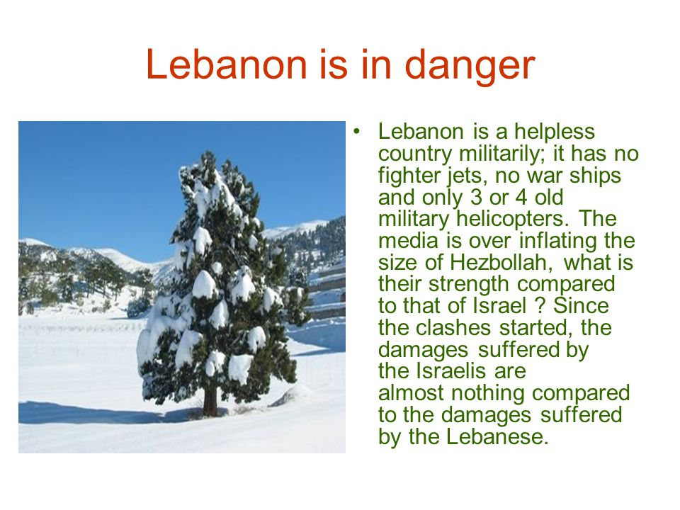 Lebanon is in danger 14 Israelis were killed & a few buildings slightly damaged, compared to over 300 Lebanese civilians killed, all Lebanese airports ruined, all sea ports and radars destroyed, all major bridges and tunnels shattered, several Lebanese villages and towns destroyed, as well as parts of Beirut almost completely destroyed & refugees barely finding a place to stay or something to eat.