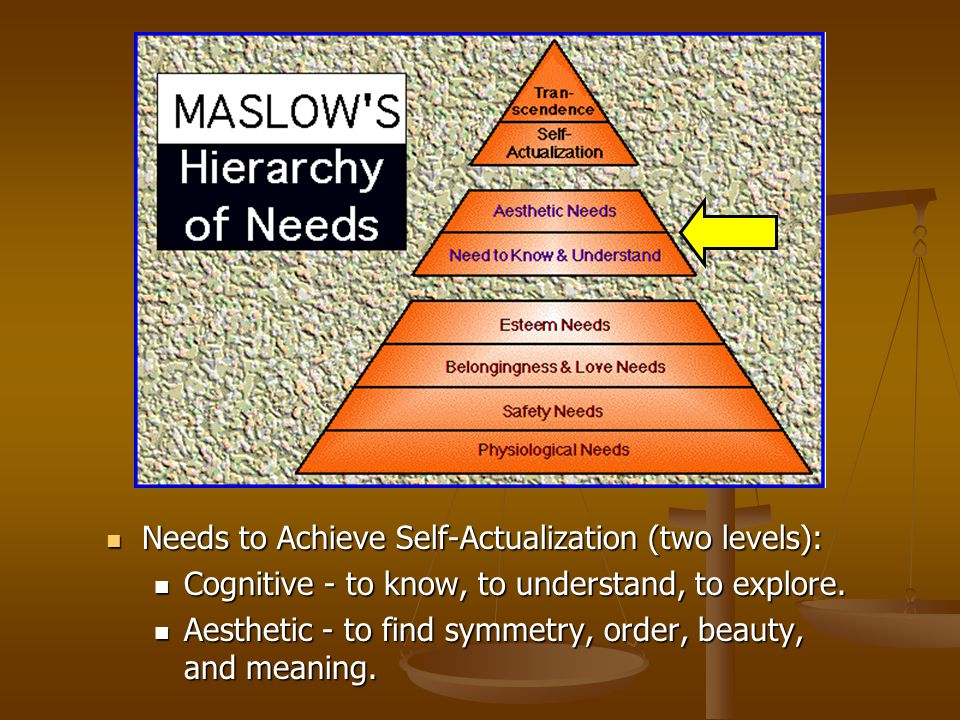 Needs to Achieve Self-Actualization (two levels): Needs to Achieve Self-Actualization (two levels): Cognitive - to know, to understand, to explore. Co