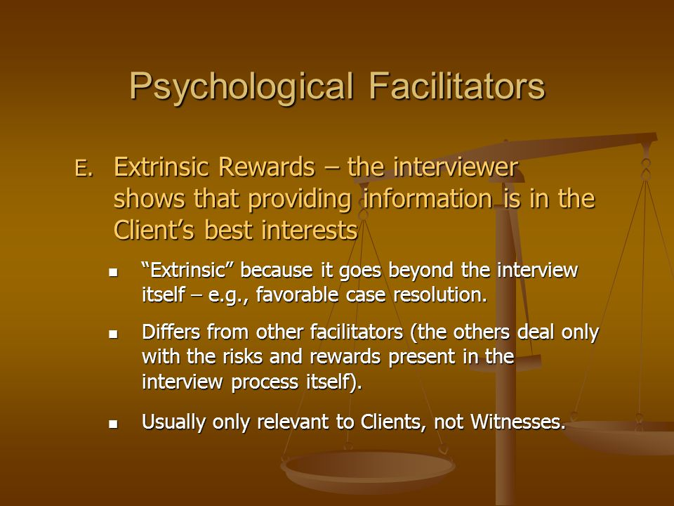 Psychological Facilitators E.
