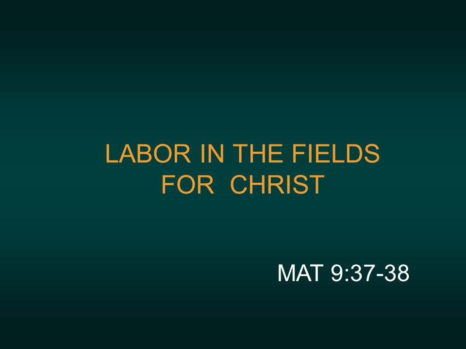 LABOR IN THE FIELDS FOR CHRIST MAT 9:37-38