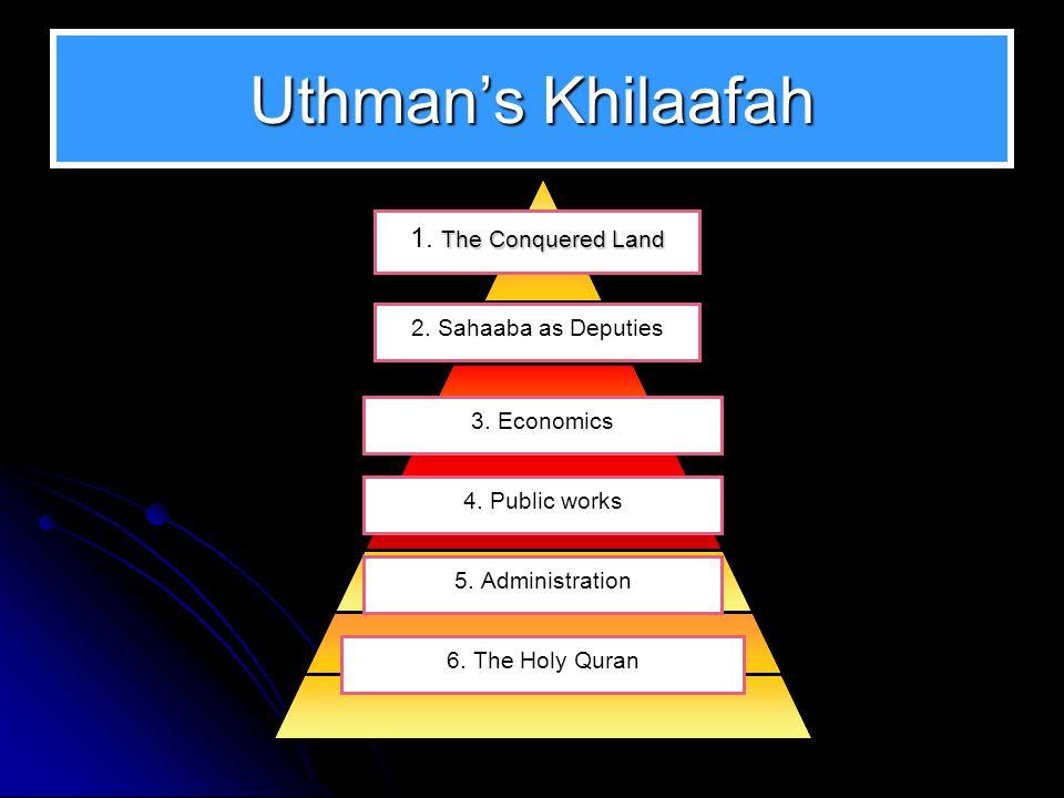 Uthman's Allegiance to Omar.Uthman was the first person to offer his allegiance to Omar.