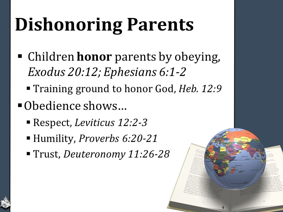 Dishonoring Parents  Children honor parents by obeying, Exodus 20:12; Ephesians 6:1-2  Training ground to honor God, Heb.
