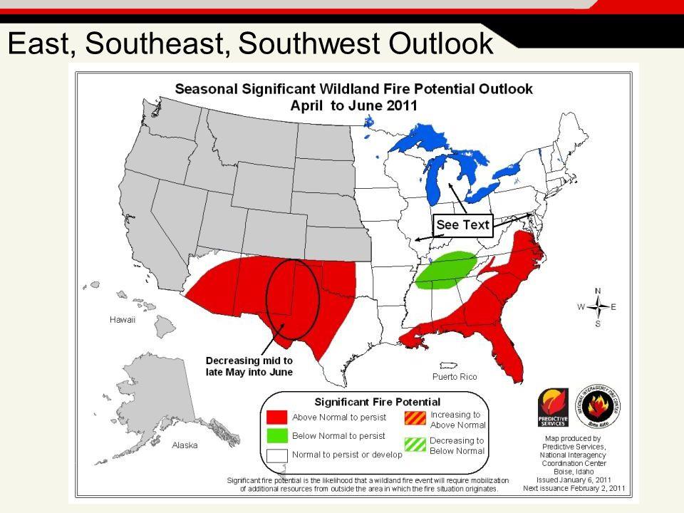 East, Southeast, Southwest Outlook