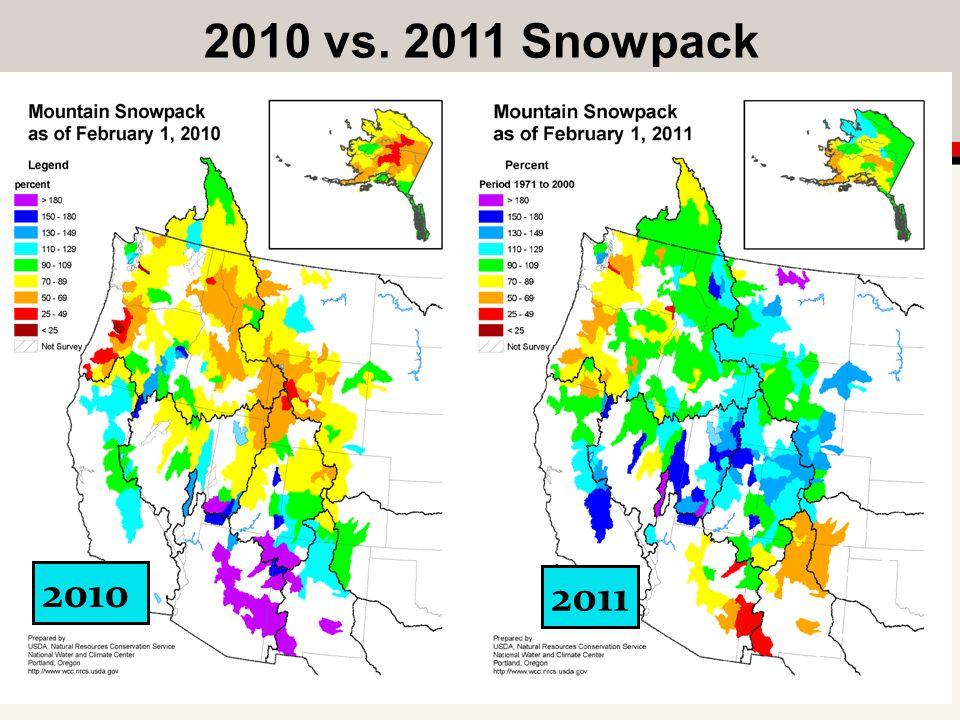 2010 vs. 2011 Snowpack 2010 2011
