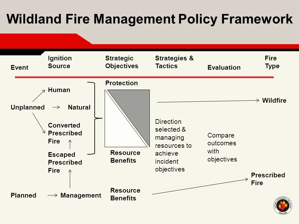 Wildland Fire Management Policy Framework Event Ignition Source Strategic Objectives Strategies & Tactics Evaluation Fire Type Unplanned Planned Wildf