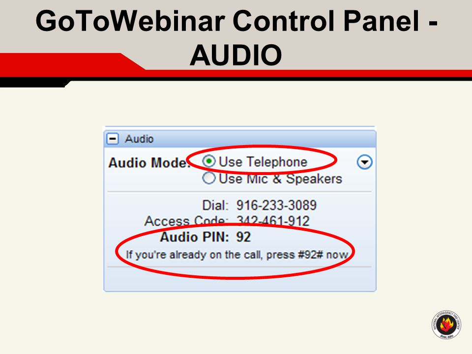 GoToWebinar Control Panel - AUDIO