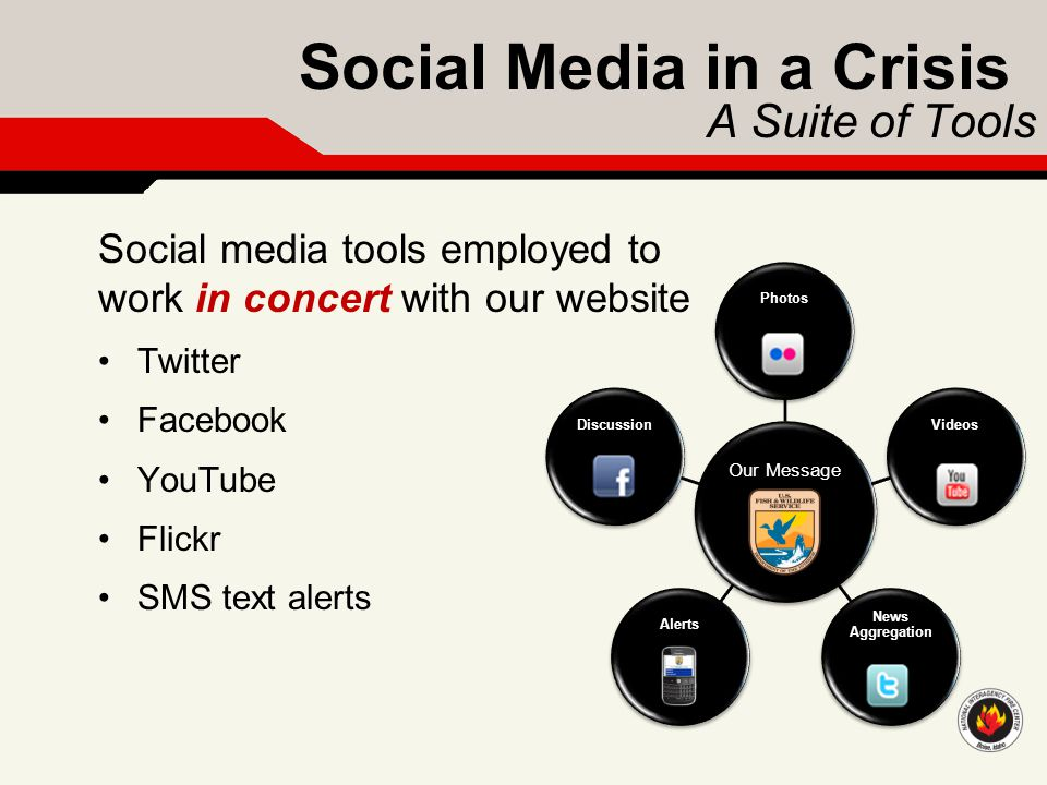 Social Media in a Crisis A Suite of Tools Social media tools employed to work in concert with our website Twitter Facebook YouTube Flickr SMS text ale