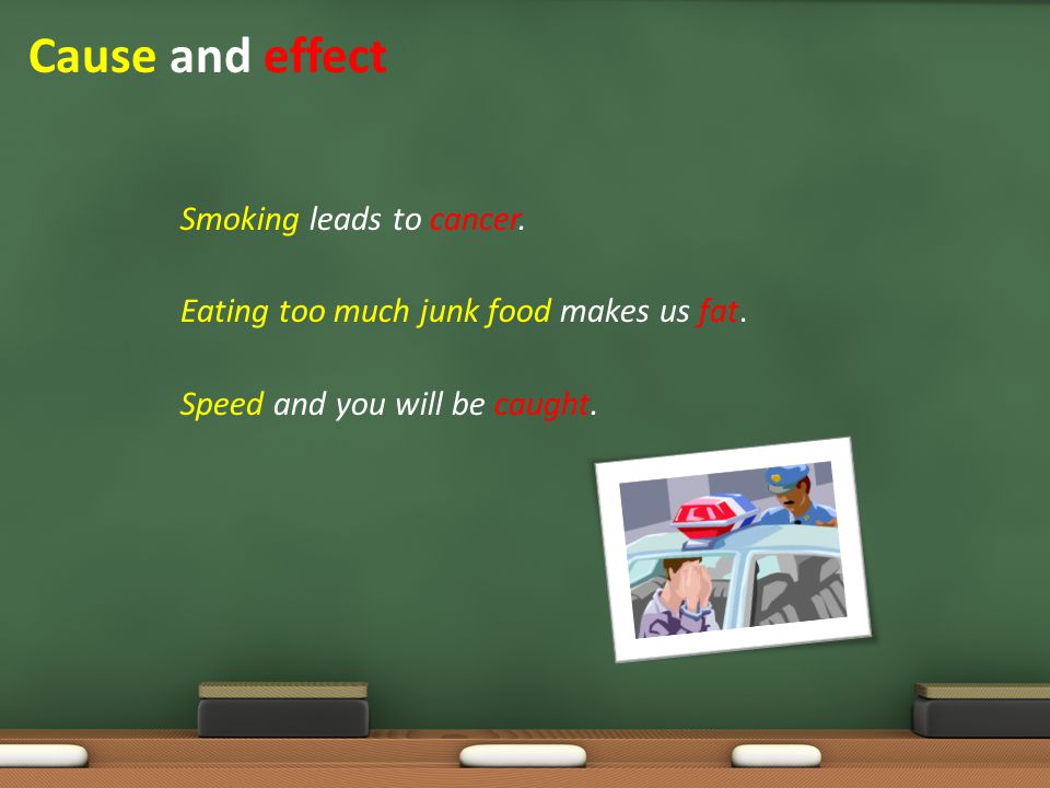 Smoking leads to cancer. Eating too much junk food makes us fat. Speed and you will be caught. Cause and effect