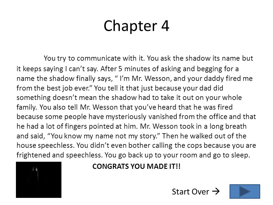 Chapter 4 You try to communicate with it. You ask the shadow its name but it keeps saying I can't say. After 5 minutes of asking and begging for a nam