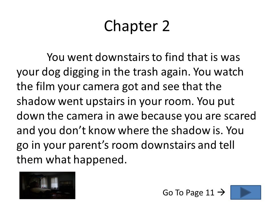 Chapter 2 You went downstairs to find that is was your dog digging in the trash again.