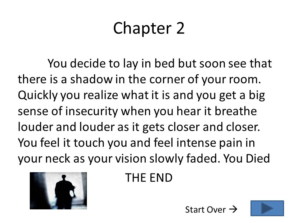 Chapter 2 You decide to lay in bed but soon see that there is a shadow in the corner of your room. Quickly you realize what it is and you get a big se