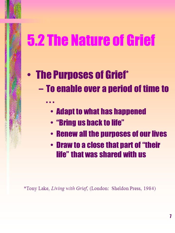 8 5.2 The Nature of Grief The Four Tasks of Grief –To accept the finality and reality of the loss –To do the emotional work of grief –To adapt to a world without that which was lost –To emotionally re-invest in someone or something else From: J.