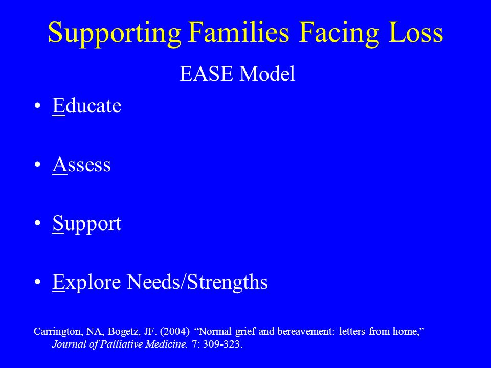 "Supporting Families Facing Loss EASE Model Educate Assess Support Explore Needs/Strengths Carrington, NA, Bogetz, JF. (2004) ""Normal grief and bereave"