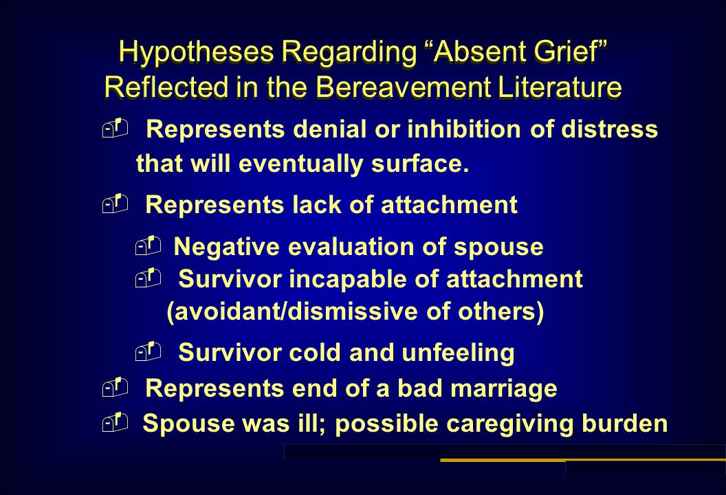 Hypotheses Regarding Absent Grief Reflected in the Bereavement Literature  Represents denial or inhibition of distress that will eventually surface.