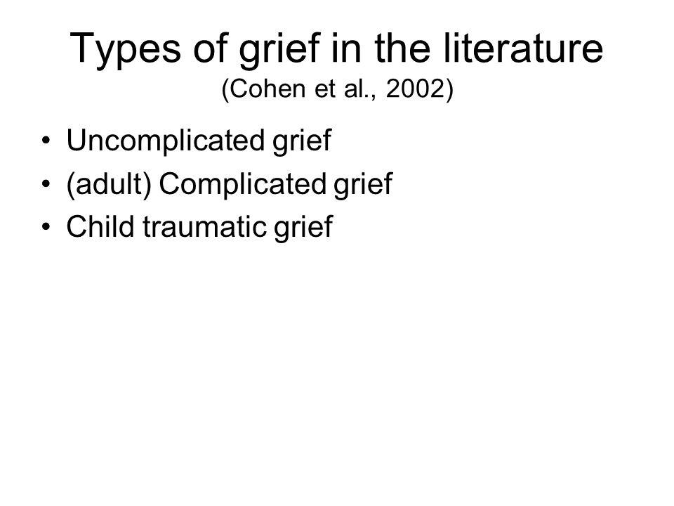Types of grief in the literature (Cohen et al., 2002) Uncomplicated grief (adult) Complicated grief Child traumatic grief