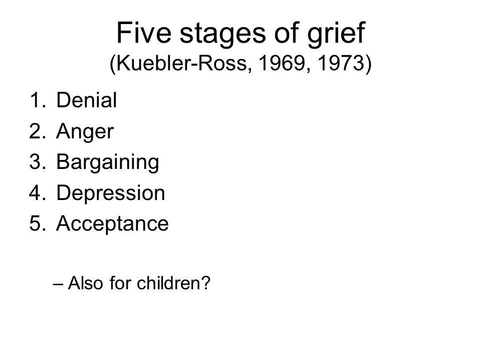 Five stages of grief (Kuebler-Ross, 1969, 1973) 1.Denial 2.Anger 3.Bargaining 4.Depression 5.Acceptance –Also for children?