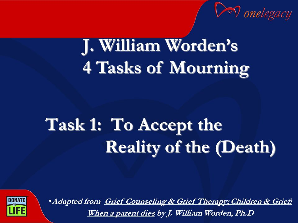 J. William Worden's 4 Tasks of Mourning Task 1: To Accept the Reality of the (Death) Adapted from Grief Counseling & Grief Therapy; Children & Grief:
