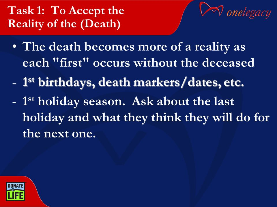 Task 1: To Accept the Reality of the (Death) The death becomes more of a reality as each